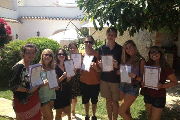 Graduation spanish students in Escuela de Idiomas Nerja